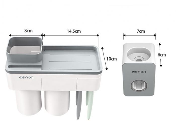 Dozator, dispenser pasta de dinți cu suport multifunctional magnetic pentru 2 pahare, 4 periute si suport telefon mobil de culoare gri cu alb 1