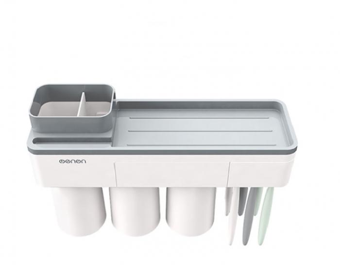 Dozator, dispenser pasta de dinti cu suport multifunctional magnetic pentru 3 pahare, 6 periute si suport telefon mobil de culoare gri cu alb 0
