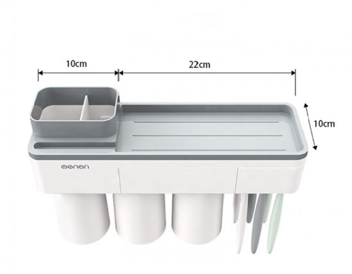 Dozator, dispenser pasta de dinti cu suport multifunctional magnetic pentru 3 pahare, 6 periute si suport telefon mobil de culoare gri cu alb 1