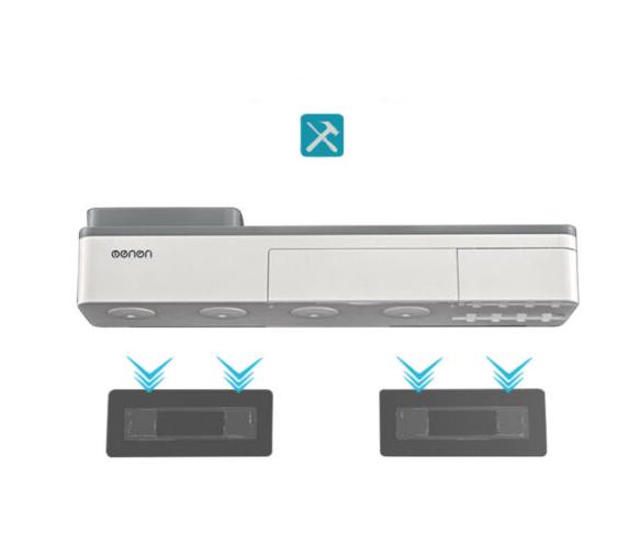 Dozator, dispenser pasta de dinti cu suport multifunctional magnetic pentru 3 pahare, 6 periute si suport telefon mobil de culoare gri cu alb 3