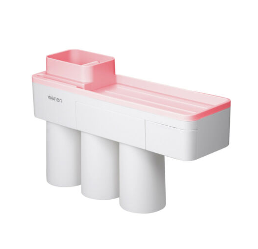 Dozator, dispenser pasta de dinti cu suport multifunctional magnetic pentru 3 pahare, 6 periute si suport telefon mobil de culoare roz cu alb 4
