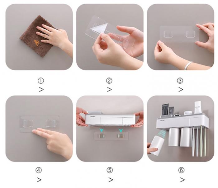 Dozator, dispenser pasta de dinti cu suport multifunctional magnetic pentru 3 pahare, 6 periute si suport telefon mobil de culoare roz cu alb 3