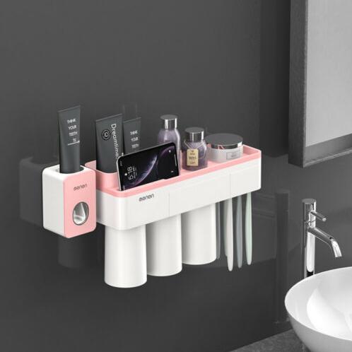 Dozator, dispenser pasta de dinti cu suport multifunctional magnetic pentru 3 pahare, 6 periute si suport telefon mobil de culoare roz cu alb 0