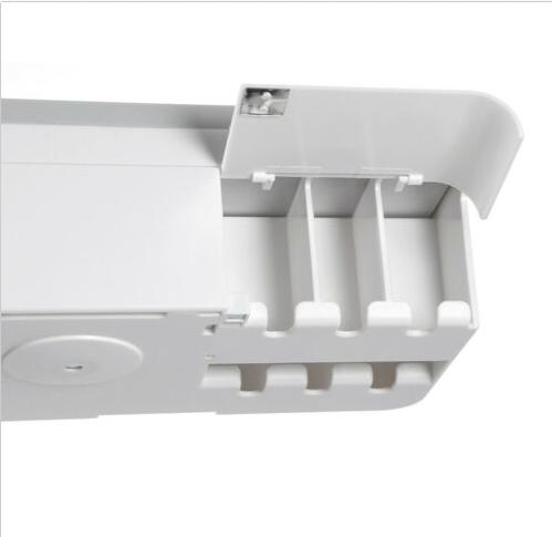 Dozator, dispenser pasta de dinti cu suport multifunctional magnetic pentru 4 pahare, 8 periute si suport telefon mobil de culoare gri cu alb 2