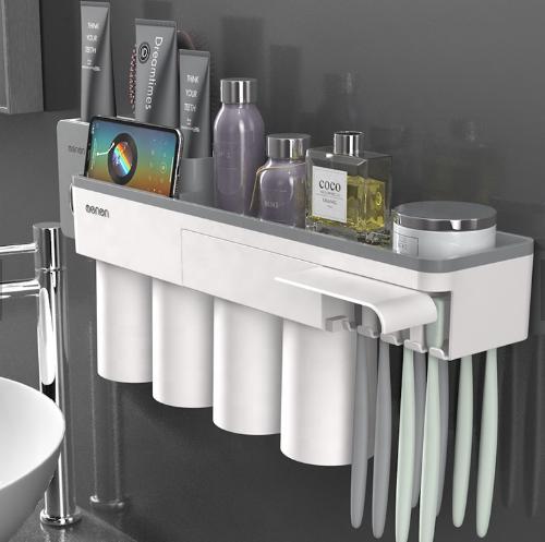 Dozator, dispenser pasta de dinti cu suport multifunctional magnetic pentru 4 pahare, 8 periute si suport telefon mobil de culoare gri cu alb 0