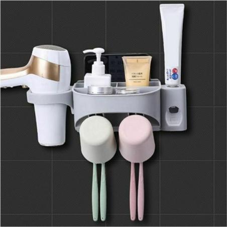 Dozator, dispenser pasta de dinti cu suport multifunctional pentru 2 pahare, 4 periute si uscator de par de culoare gri 0