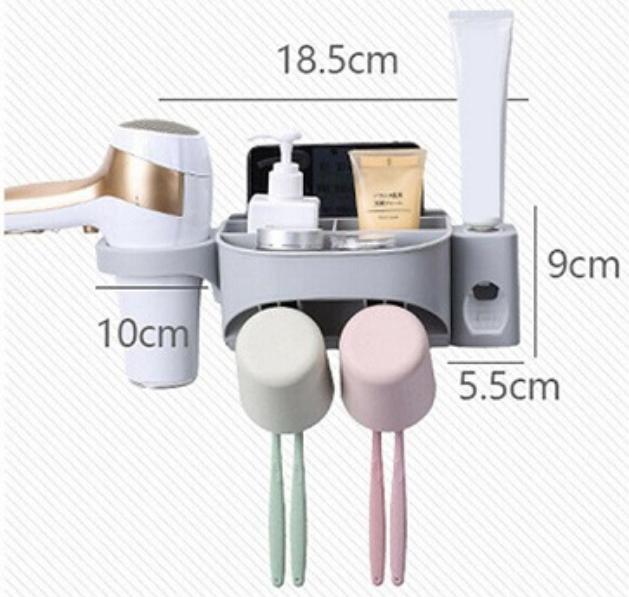 Dozator, dispenser pasta de dinti cu suport multifunctional pentru 2 pahare, 4 periute si uscator de par de culoare gri 1
