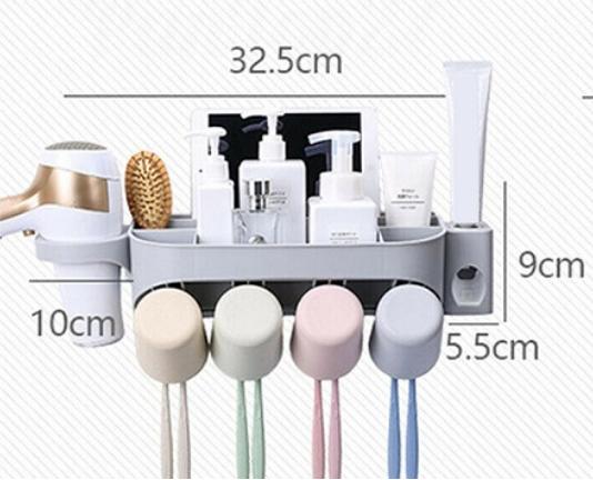 Dozator, dispenser pasta de dinti cu suport multifunctional pentru 4 pahare, 8 periute si uscator de par de culoare gri 1