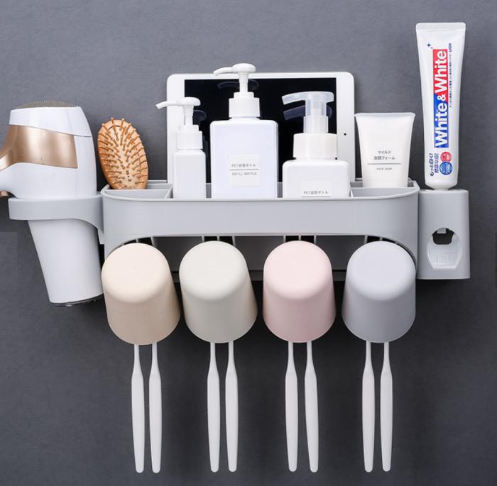Dozator, dispenser pasta de dinti cu suport multifunctional pentru 4 pahare, 8 periute si uscator de par de culoare gri 0