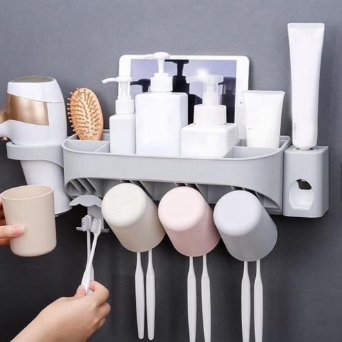 Dozator, dispenser pasta de dinti cu suport multifunctional pentru 4 pahare, 8 periute si uscator de par de culoare gri 3