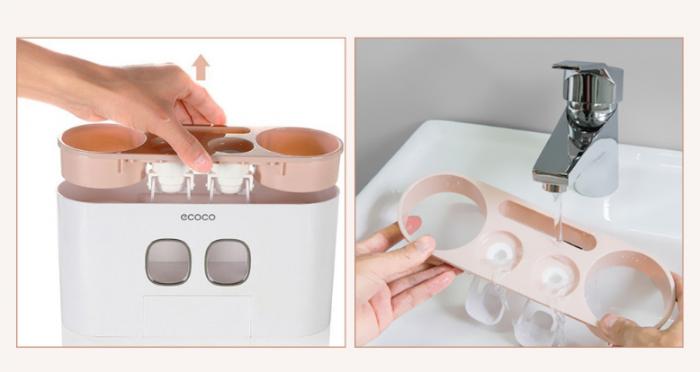 Dozator, dispenser pasta de dinti multifunctional cu suport magnetic pentru 4 pahare, 5 periute si suport accesorii de culoare roz cu alb 1