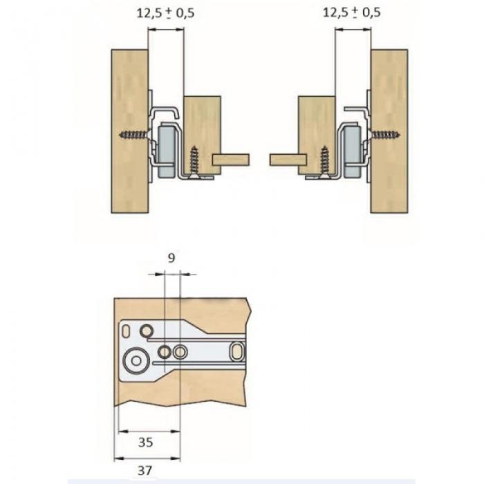 Glisiera, sina pentru sertar metalica, alba, 350 mm 1
