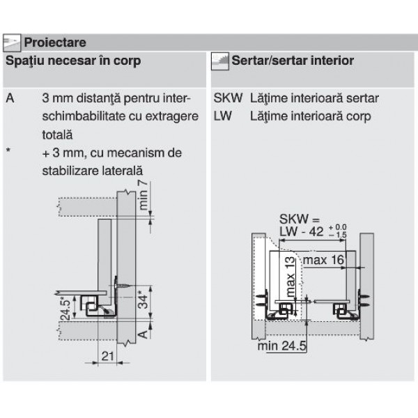 Glisiera TANDEM BLUM 350 mm cu amortizare si extragere partiala 3