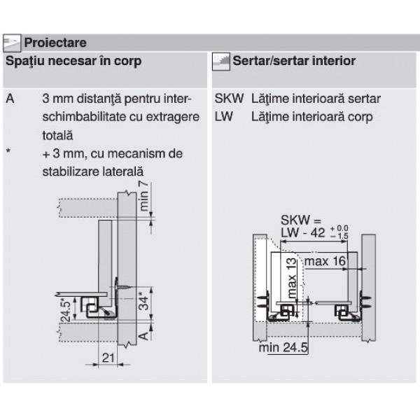Glisiera TANDEM BLUM 550 mm cu amortizare si extragere partiala 4
