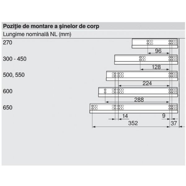 Glisiera TANDEM BLUM 550 mm cu amortizare si extragere partiala 2