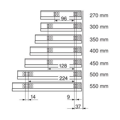 Glisiera TANDEM BLUM 550 mm cu amortizare si extragere partiala 1