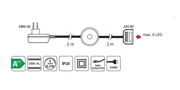LED 2 pentru polita sticla clip plastic 1