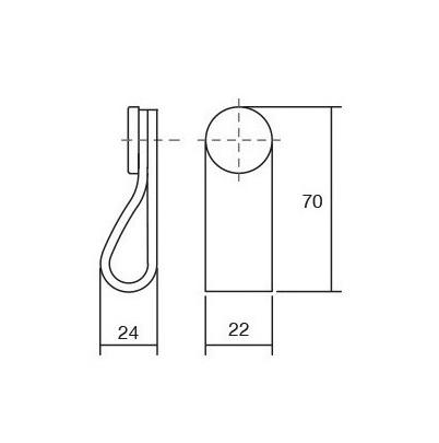 Maner, buton Flexa din piele maro pentru mobilier, cu ornament finisaj alama, L: 70 mm [1]