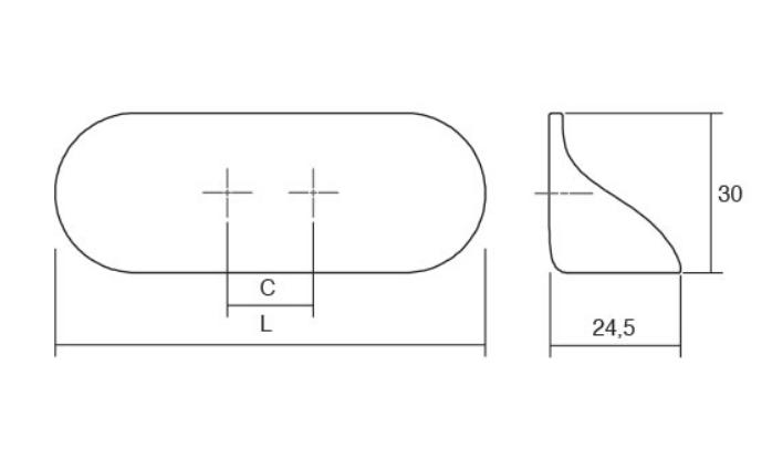 Maner Cala, L:80 mm, finisaj alb mat 1