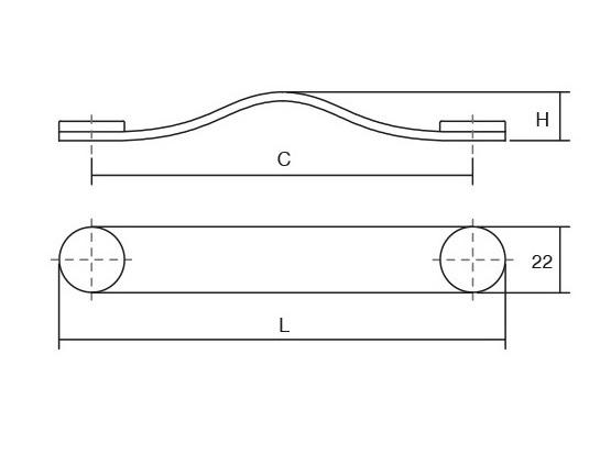 Maner Flexa din piele bej pentru mobilier, cu ornament crom lustruit, L:150 mm 1
