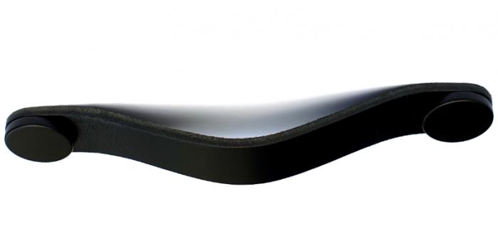 Maner Flexa din piele neagra pentru mobilier, cu ornamente negre, L: 150 mm 0