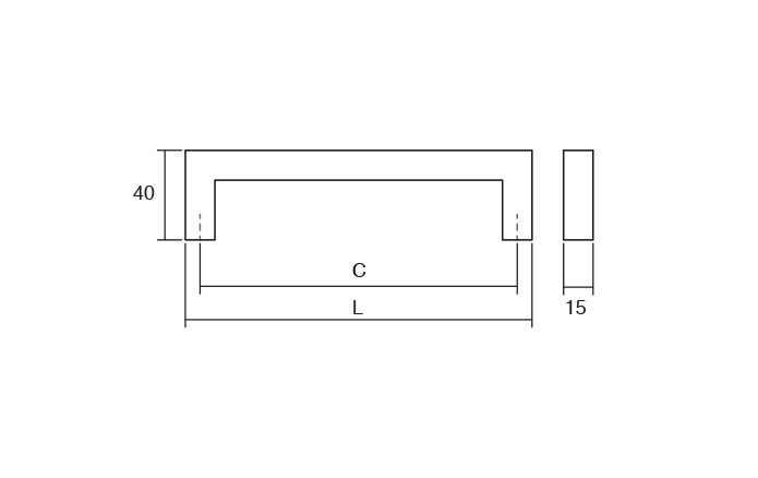 Maner pentru mobila Fort, finisaj otel inoxidabil periat, L:174 mm [3]