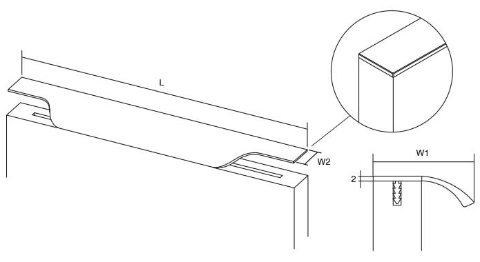Maner pentru mobila Vector, finisaj otel inoxidabil, L:197 mm [3]