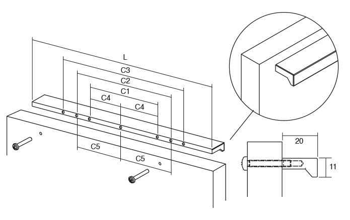 Maner pentru mobilier Angle finisaj otel inoxidabil L:300 mm 2