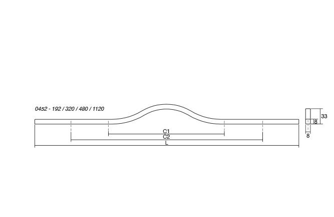 Maner pentru mobilier Brave, alb mat, L 1150 mm 2
