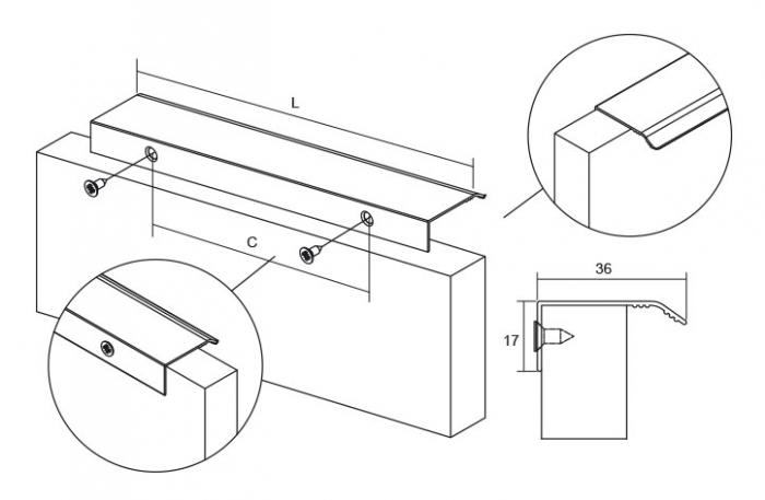 Maner pentru mobilier Cruve, finisaj aluminiu, L: 45 mm 1