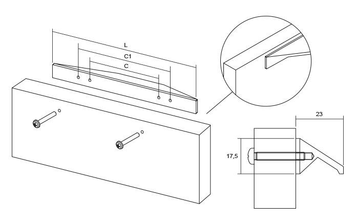 Maner pentru mobilier Cutt, crom lucios, L= 200 mm [2]