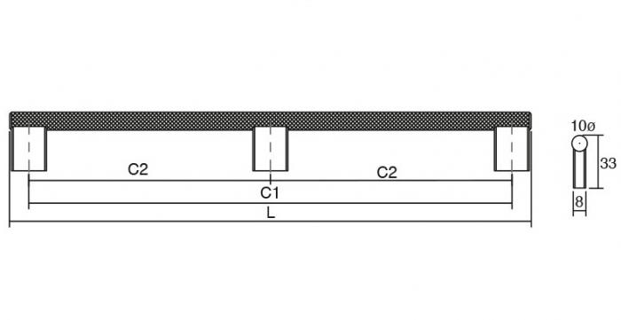 Maner pentru mobilier Graf Mini Long, finisaj negru periat, L: 1200 mm 3