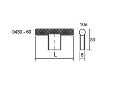 Maner pentru mobilier Graf2, otel inoxidabil, L= 60 mm 1