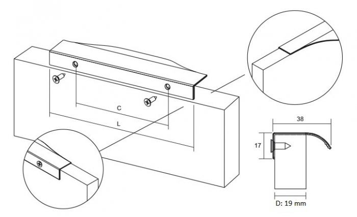 Maner pentru mobilier Noma, anodizat luminos, L: 350 mm 1