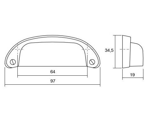 Maner pentru mobilier Petra, argint antichizat, L: 97 mm 1