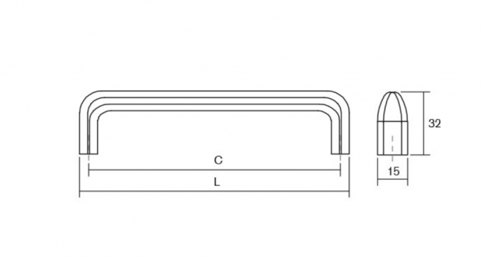 Maner pentru mobilier Redo, finisaj crom lustruit, L: 137 mm 1