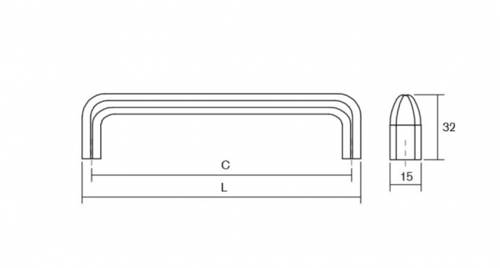 Maner pentru mobilier Redo L:201 mm finisaj alama antichizata [3]