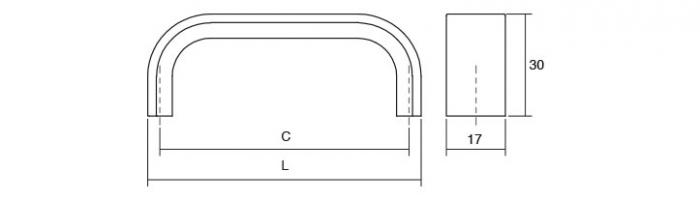 Maner pentru mobilier Sense Mini L:103 mm finisaj alama intunecata periata 3