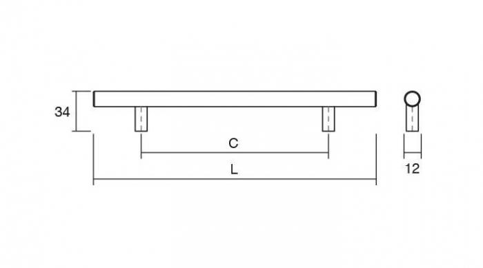 Maner pentru mobilier Tub, finisaj otel inoxidabil, L:192 mm 2
