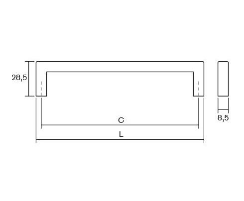 Maner pentru mobilier U, alb mat, L:200,5 mm 2