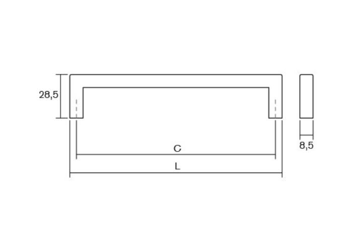 Maner pentru mobilier U cupru periat L:200,5 mm 3