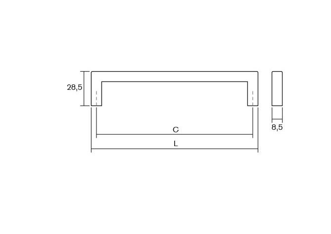 Maner pentru mobilier U cupru periat L:328.5 mm 2