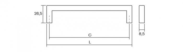 Maner pentru mobilier U, nichel periat, L: 136,5 mm 2