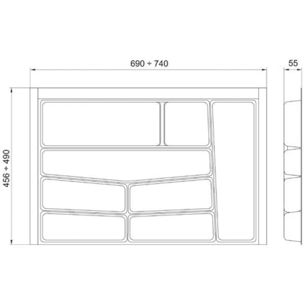Suport organizare tacamuri, gri grafit, pentru latime corp 800 mm, montabil in sertar de bucatarie 2