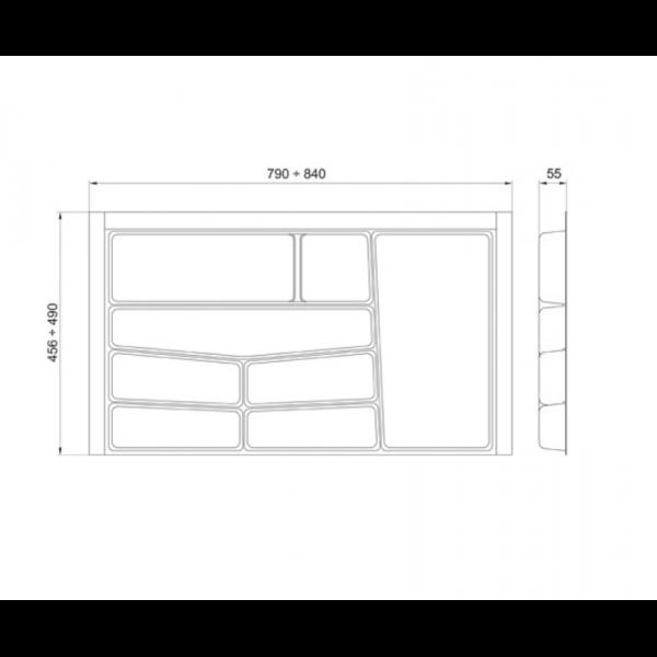 Suport organizare tacamuri, gri grafit, pentru  latime corp 900 mm, montabil in sertar de bucatarie 2
