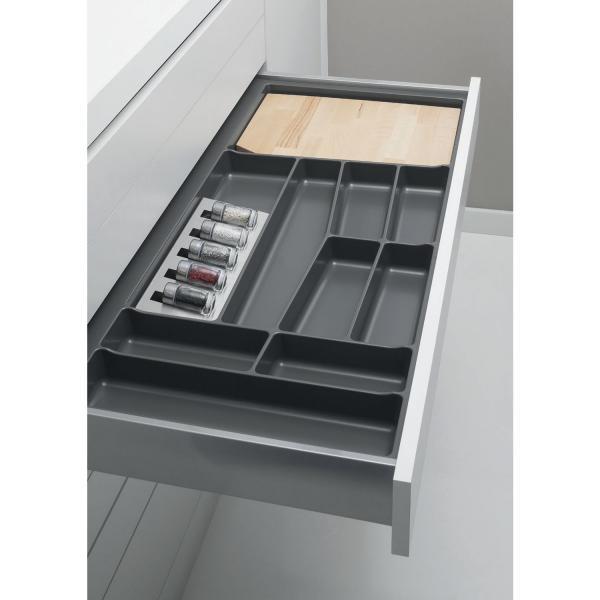 Suport organizare tacamuri, gri grafit, pentru  latime corp 900 mm, montabil in sertar de bucatarie 0