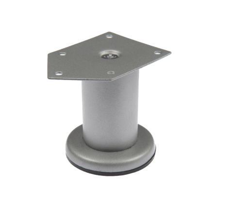 Picior metalic Cilindric pentru mobilier D42 mm, H:100 mm, finisaj gri satinat 0