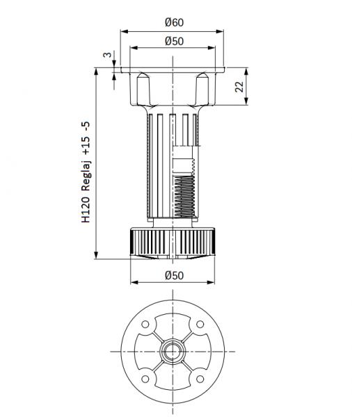 Picior cilindric negru H:120 mm pentru mobilier 4