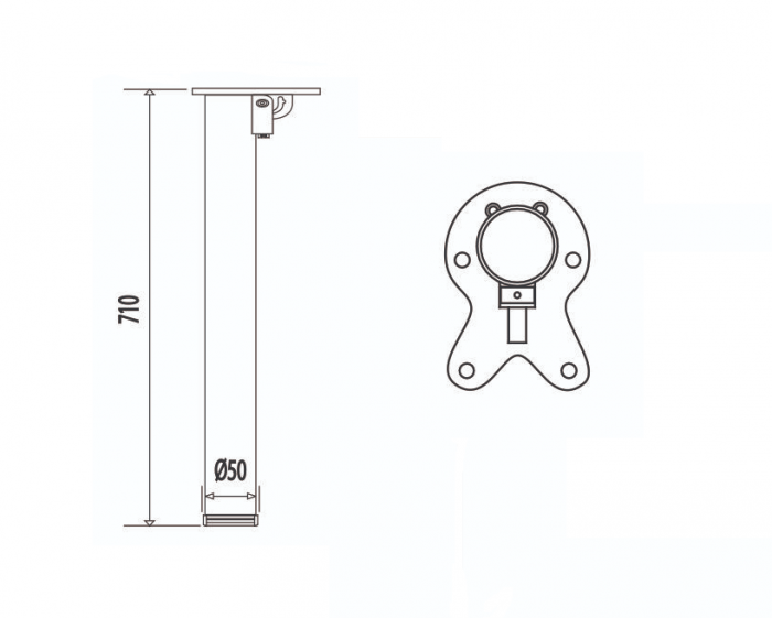 Picior masa rabatabil H=710 mm, D=50 mm, cilindric, finisaj crom 1
