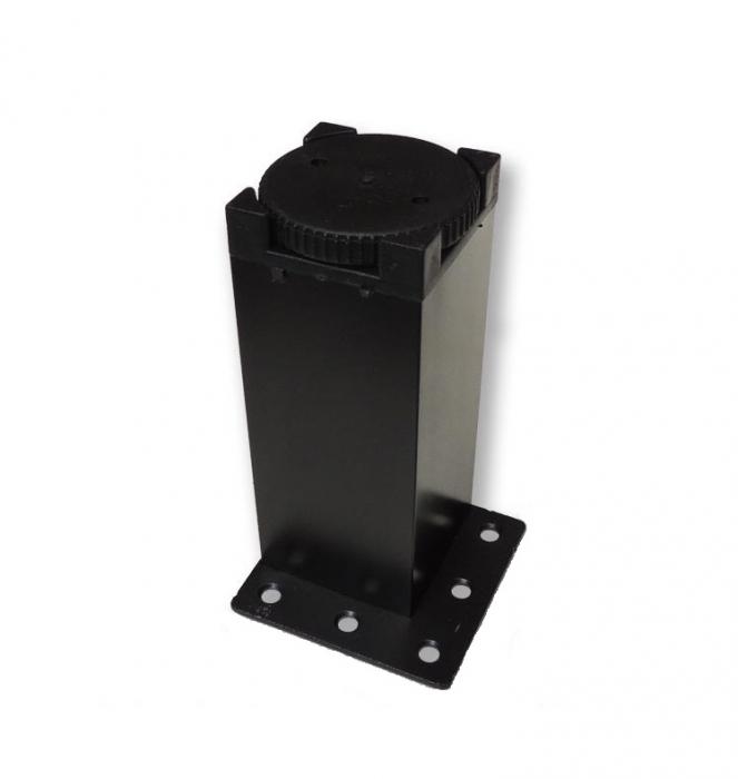 Picior metalic pentru mobilier H:100 mm cu profil patrat 40x40 mm negru 1